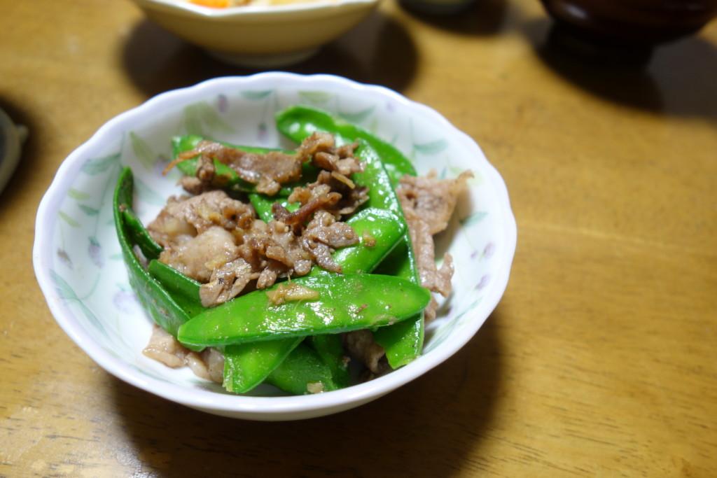 サヤエンドウ肉炒め